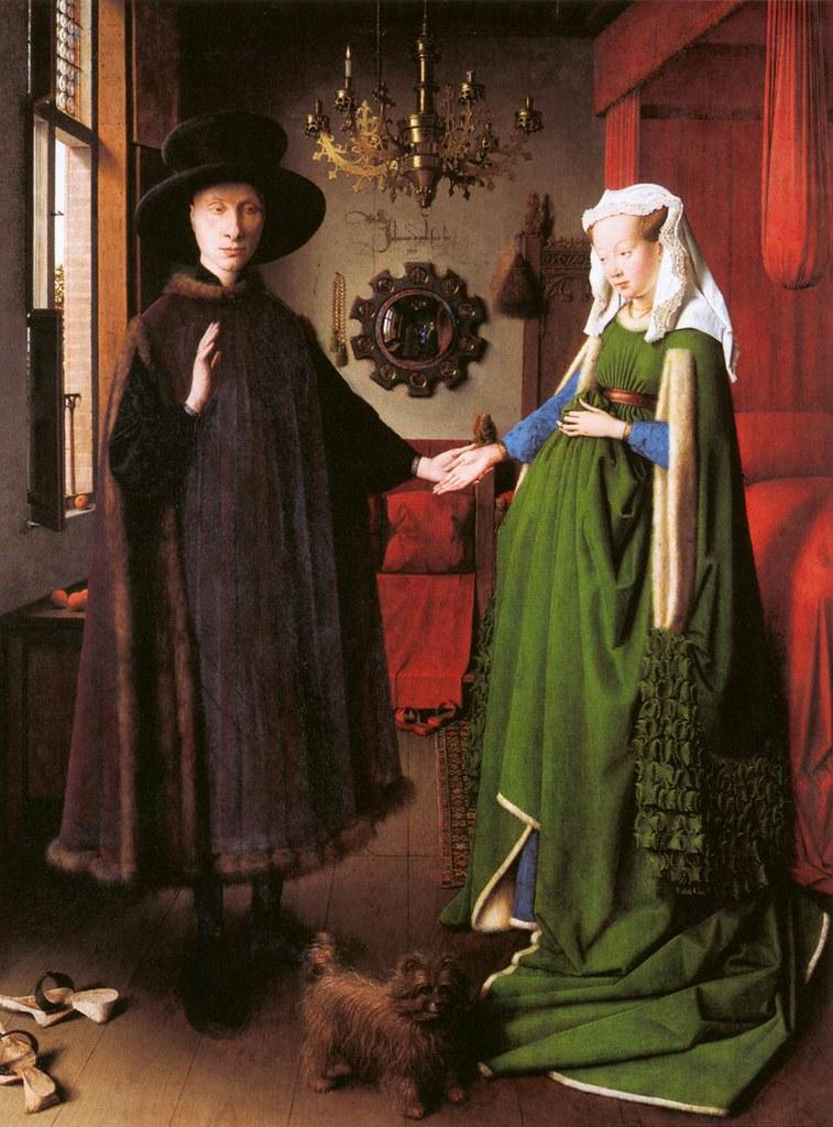 Jan Van Eyck, Portrait of Giovanni Arnolfini and his Wife, 1434, Oil on oak, 82 x 60 cm, National Gallery, London